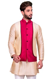 Beige Kurta Set With Fuchsia Silk Jacket