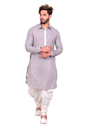 Rich Look Silver Cotton Pathani Suit