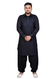 Ideal Black Cotton Pathani Suit