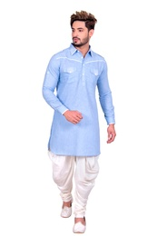 Splendid Sky Blue Pathani Suit