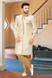 Cream Banarasi Silk Wedding Sherwani