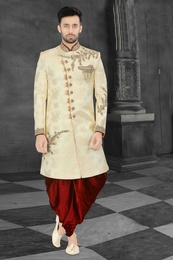 Trendy Look Cream Wedding Sherwani