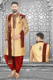 Latest Golden Wedding Dhoti Sherwani