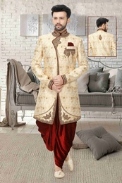 Exclusive Cream Embroidered Wedding Sherwani
