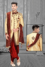 Rich Royal Look Gold Maroon Wedding Sherwani