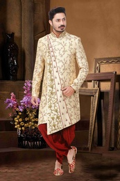 Exquisite Fawn Embroidered Dhoti Sherwani