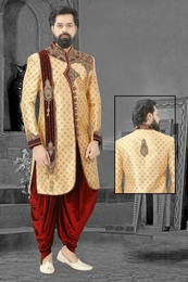 Marvellous Golden Embroidered Wedding Sherwani