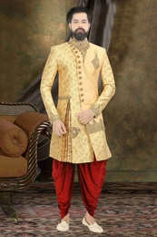 Designer Yellow Wedding Dhoti Sherwani