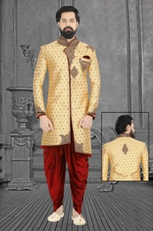 Golden Asymmetrical Wedding Dhoti Sherwani