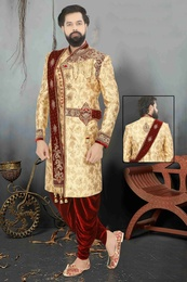 King Look Golden Wedding Sherwani