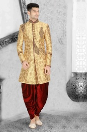 Adorning Golden Wedding Dhoti Sherwani
