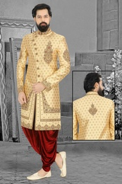Embellished Embroidered Golden Wedding Dhoti Sherwani