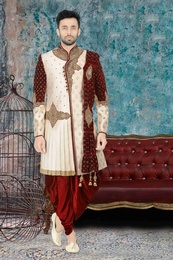 Marvellous Cream Maroon Wedding Dhoti Sherwani
