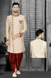 Elegant Embroidered Cream Dhoti Sherwani Set