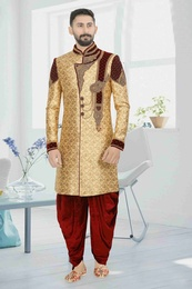 Rich Look Gold Maroon Wedding Dhoti Sherwani