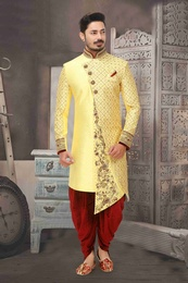 Asymmetrical Yellow Wedding Sherwani With Dhoti