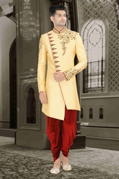 Golden Asymmetrical Dhoti Sherwani For Wedding