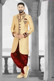 Apple Cut Gold Maroon Embroidered Sherwani