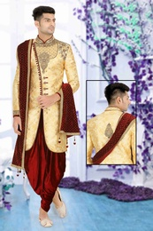 Trendy Apple Cut Gold Maroon Wedding Sherwani
