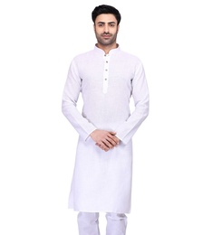 White Cotton Plain Kurta For Men