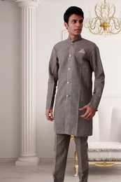 Mocha Coloured Kurta With Lehenga BL4018