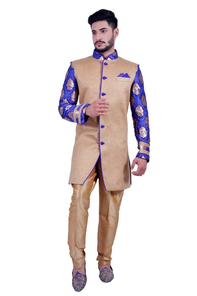 Natural Jute &  Persian Blue  Indowestern Sherwani  RK1092