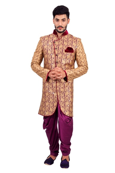 Natural Jute &  Purple  Indowestern Sherwani  RK1122