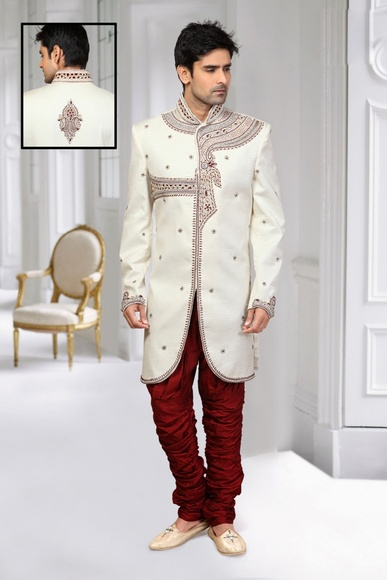 Ornet Cream Color Indo Western Sherwani