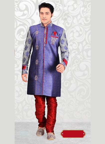 Classical Blue Color Indo Western Sherwani