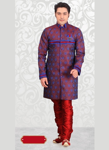 Rich Royal Blue Color Indo Western Sherwani