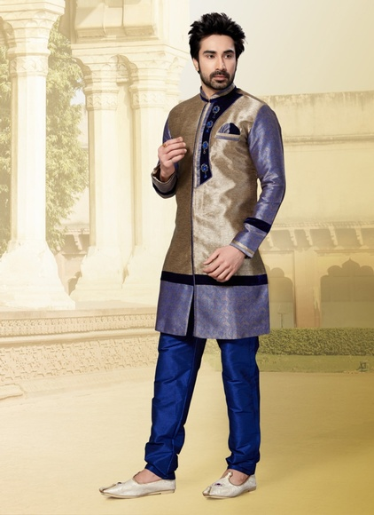 Cyan Brown Color Indo Western Sherwani