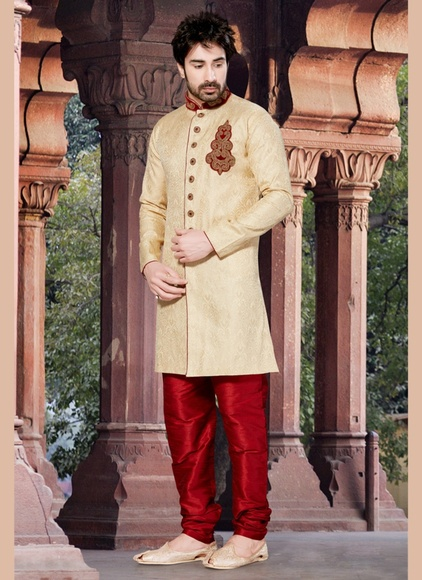 Regal Cream Color Indo Western Sherwani