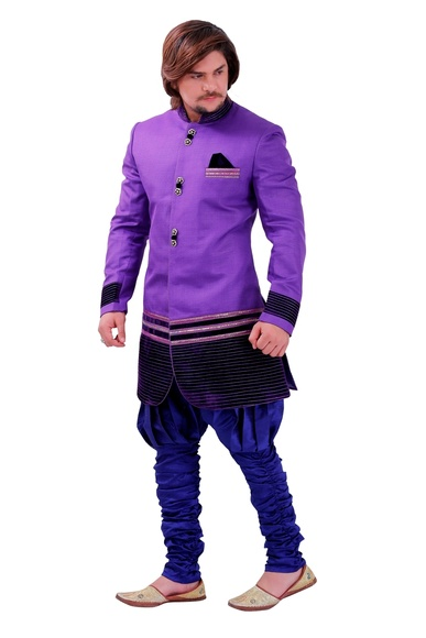 Graceful Purple Color Indo Western Sherwani