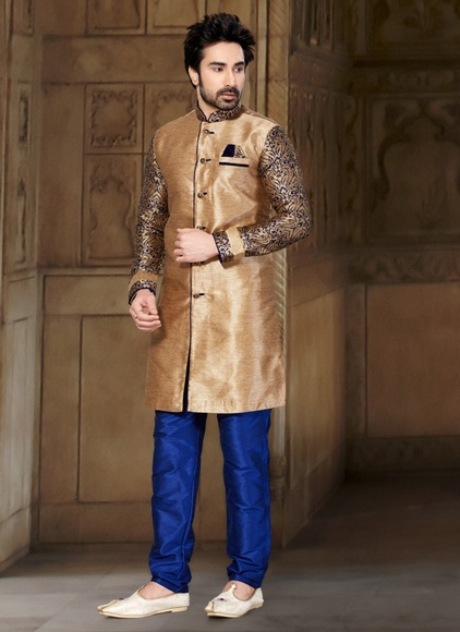 Live in Style Brown Color Indo Western Sherwani