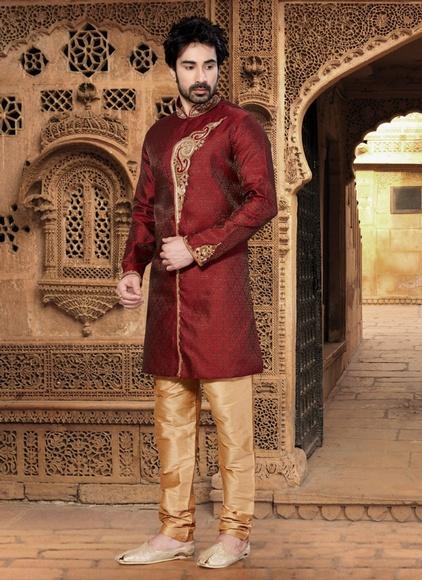 a6f6722ab4f Fabulous Maroon Color Indo Western Sherwani