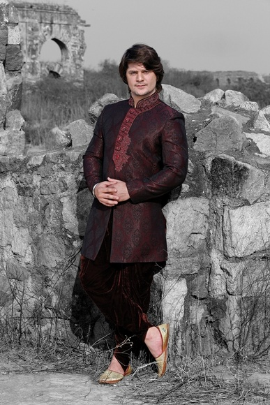 Striking Violet Color Indo Western Sherwani