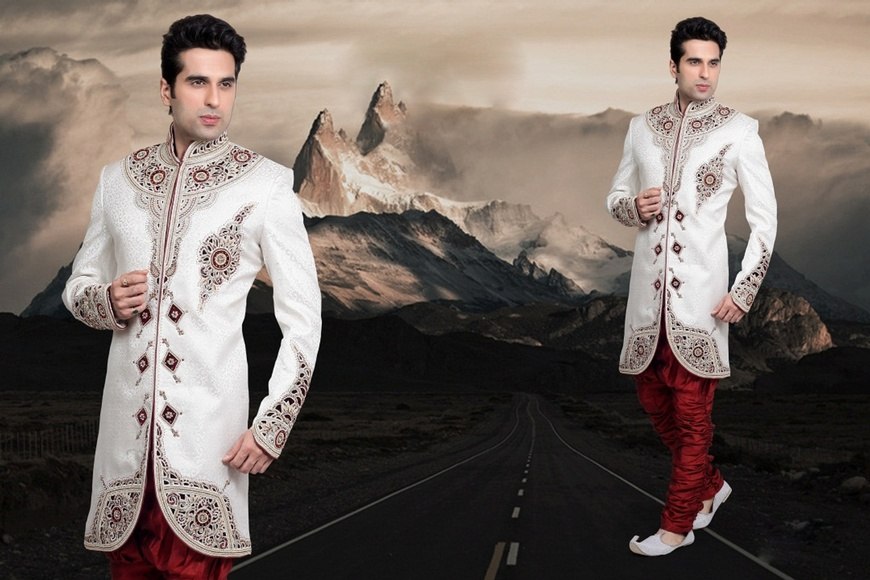 Blooming White Color Indo Western Sherwani