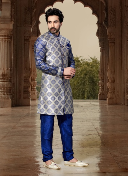 Grey Color Fabulous Indo Western Sherwani
