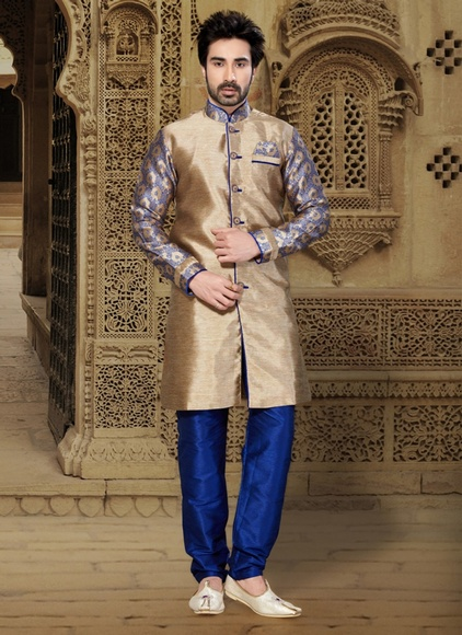 Extra Vagant Brown Color Indo Western Sherwani