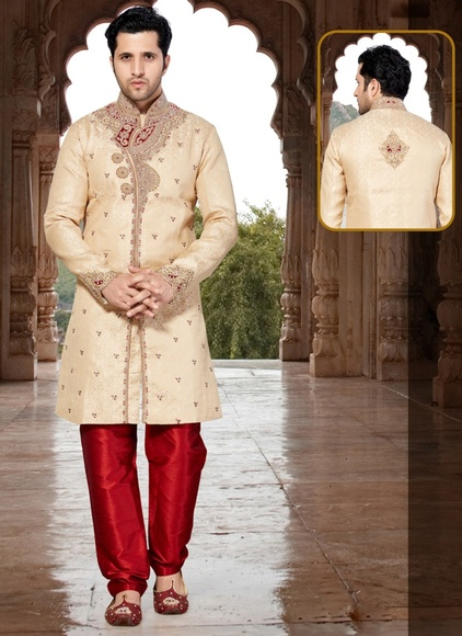 Rich Look Cream Color Indo Western Sherwani