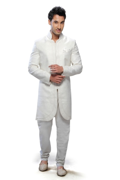 White Color Cotton Silk Rich Look Indo Western Sherwani