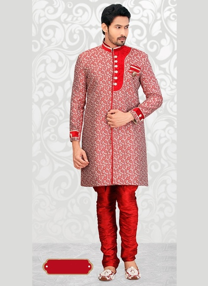 Amazing Red Color Indo Western Sherwani
