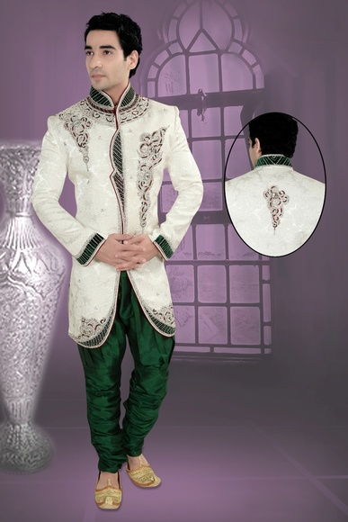Eye Catching White Indo Western Sherwani