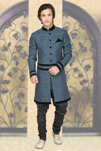 Charming Blue Color Indo Western Sherwani
