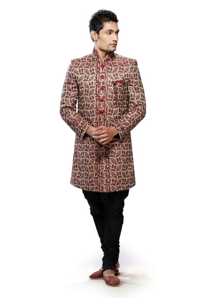 Kalamkari Red & Brown Color Indo Western Sherwani