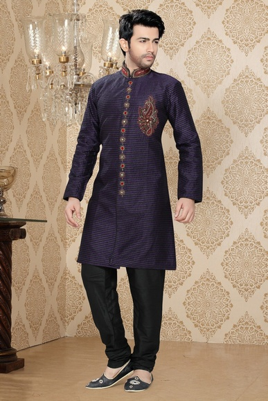Mythical Black & Violet Color Indo Western Sherwani