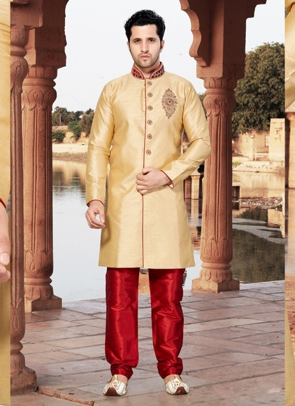 Cream Color  Ravishing Raw Silk Indo Western Sherwani