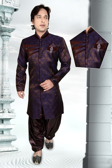 Splendid Grey Color Brocade Indo Western Sherwani