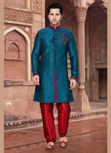 Regal Blue Color Indo Western Sherwani