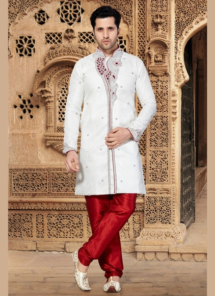 Snazzy White Color Jacquard Indo Western Sherwani